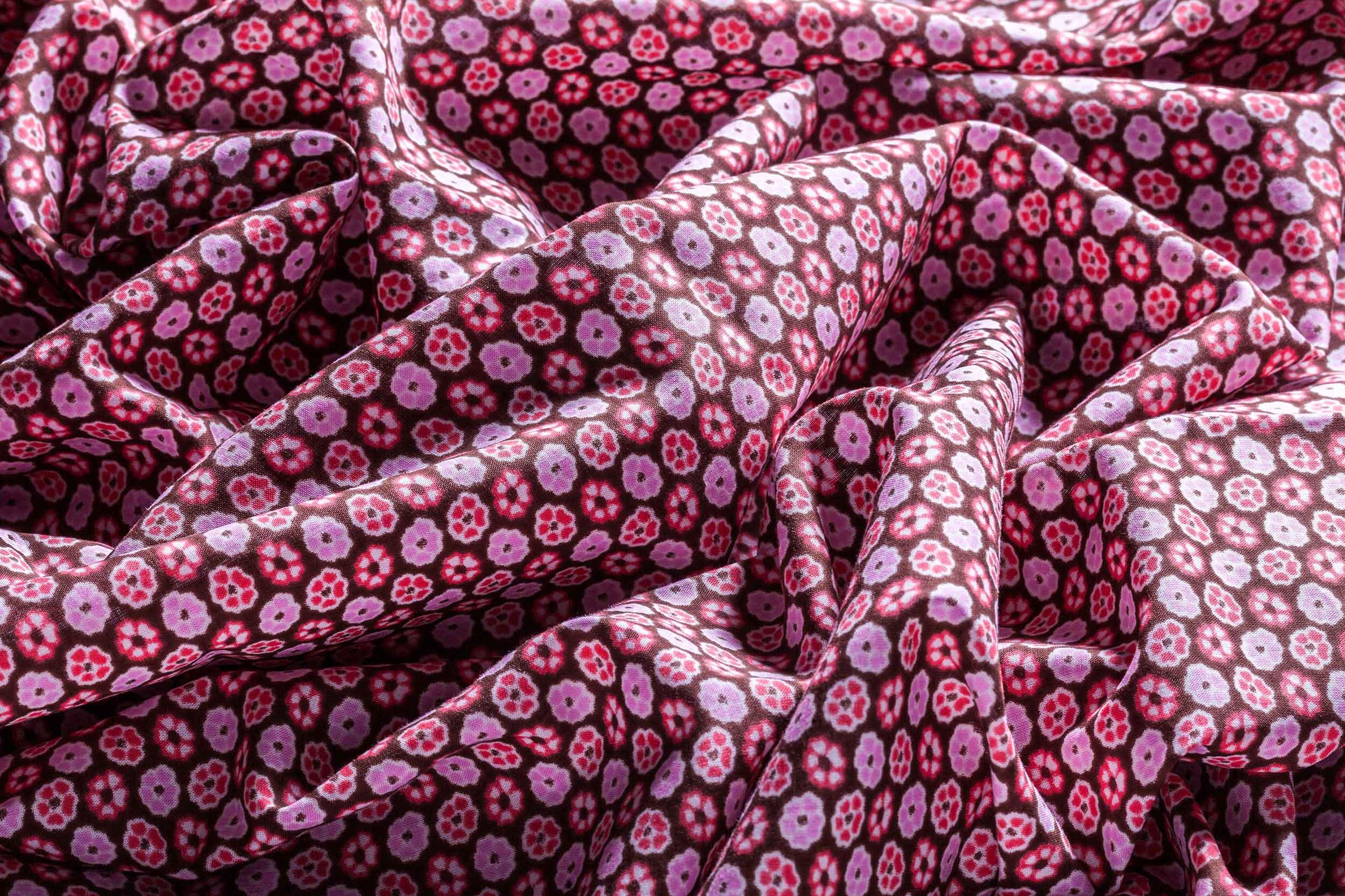 Tessuto realizzato in italia puro cotone rosa a fiori Camerano Ancona