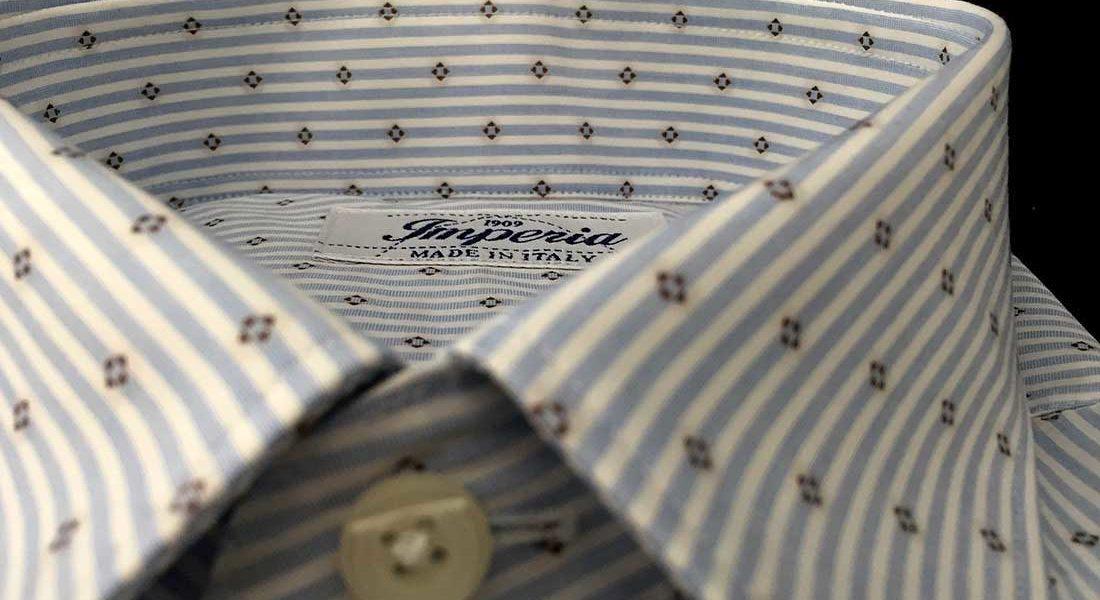 Cotone puro di una camicia da uomo Camerano Ancona Smeralda
