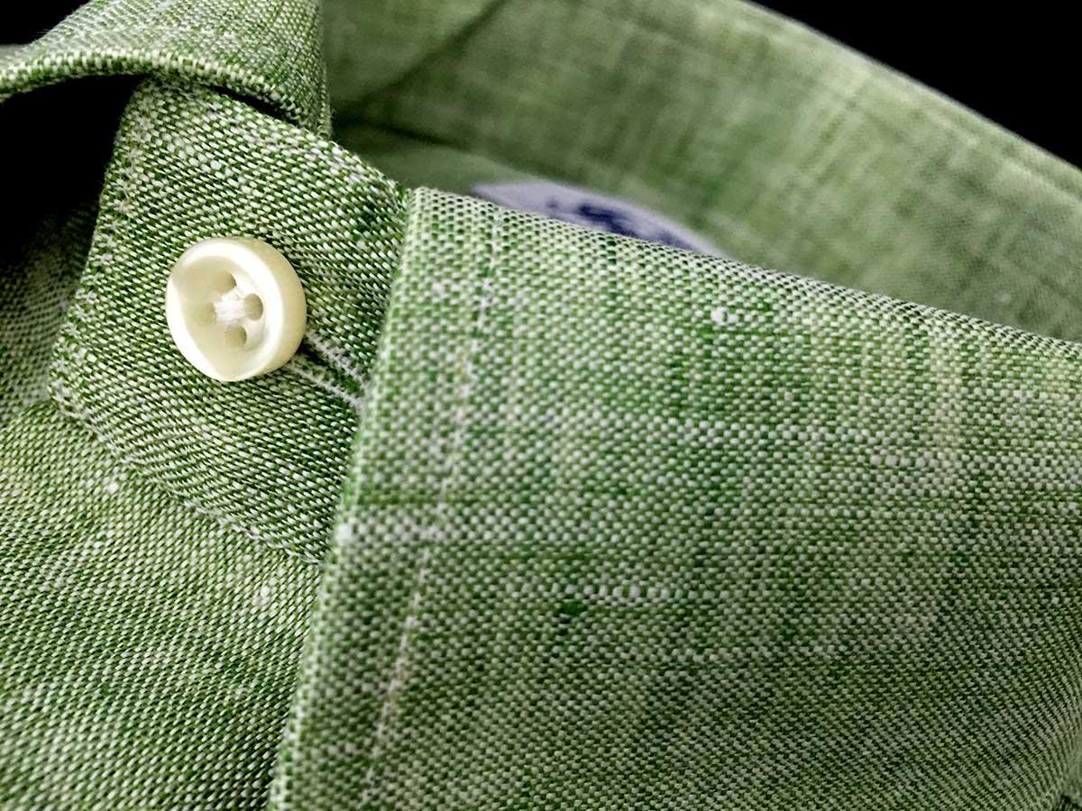 Camicia uomo lino verde melangé Ancona Camerano Smeralda news