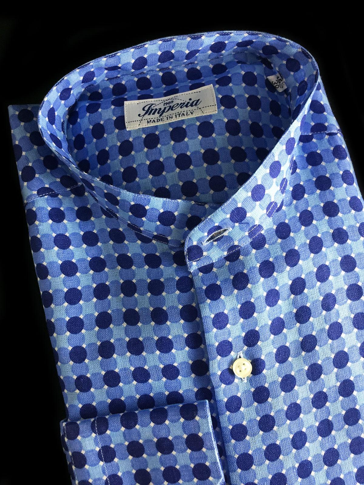 camicia di lino a pois collo coreana