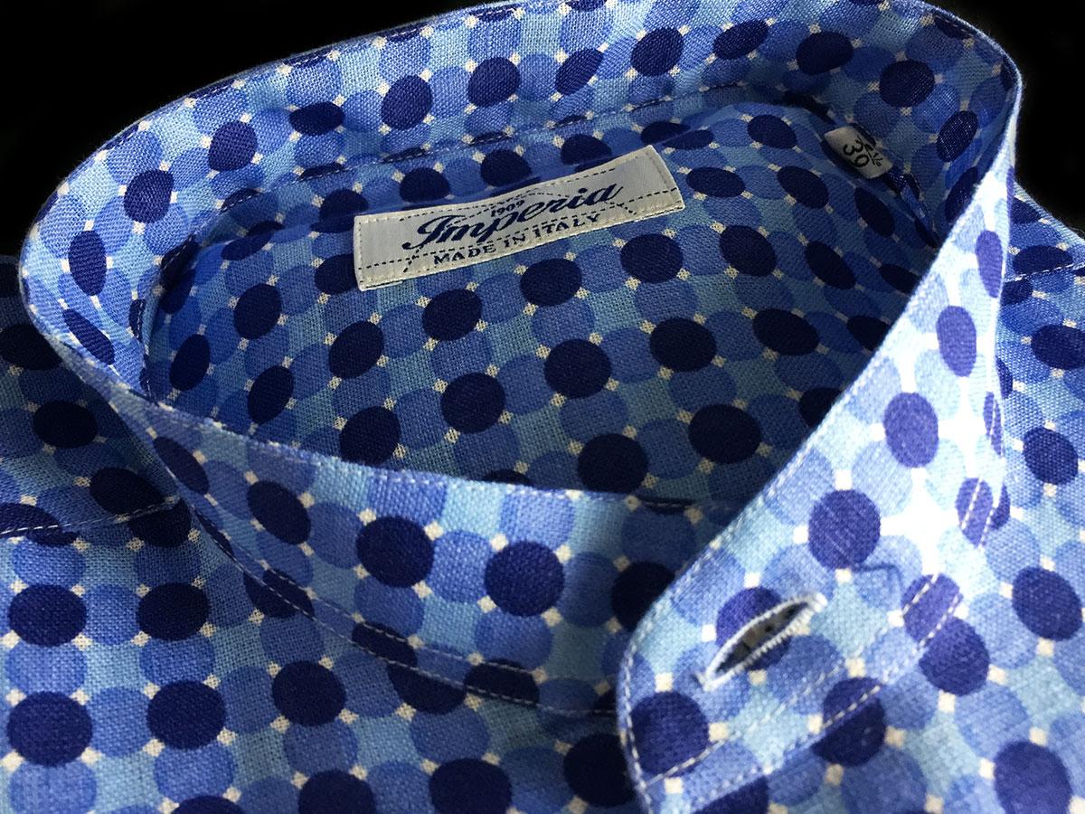 Camicia-cotone-pois-azzurra-Ancona