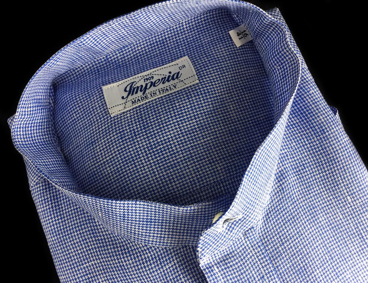 camicia di lino azzurra e bianca da uomo Camerano Ancona
