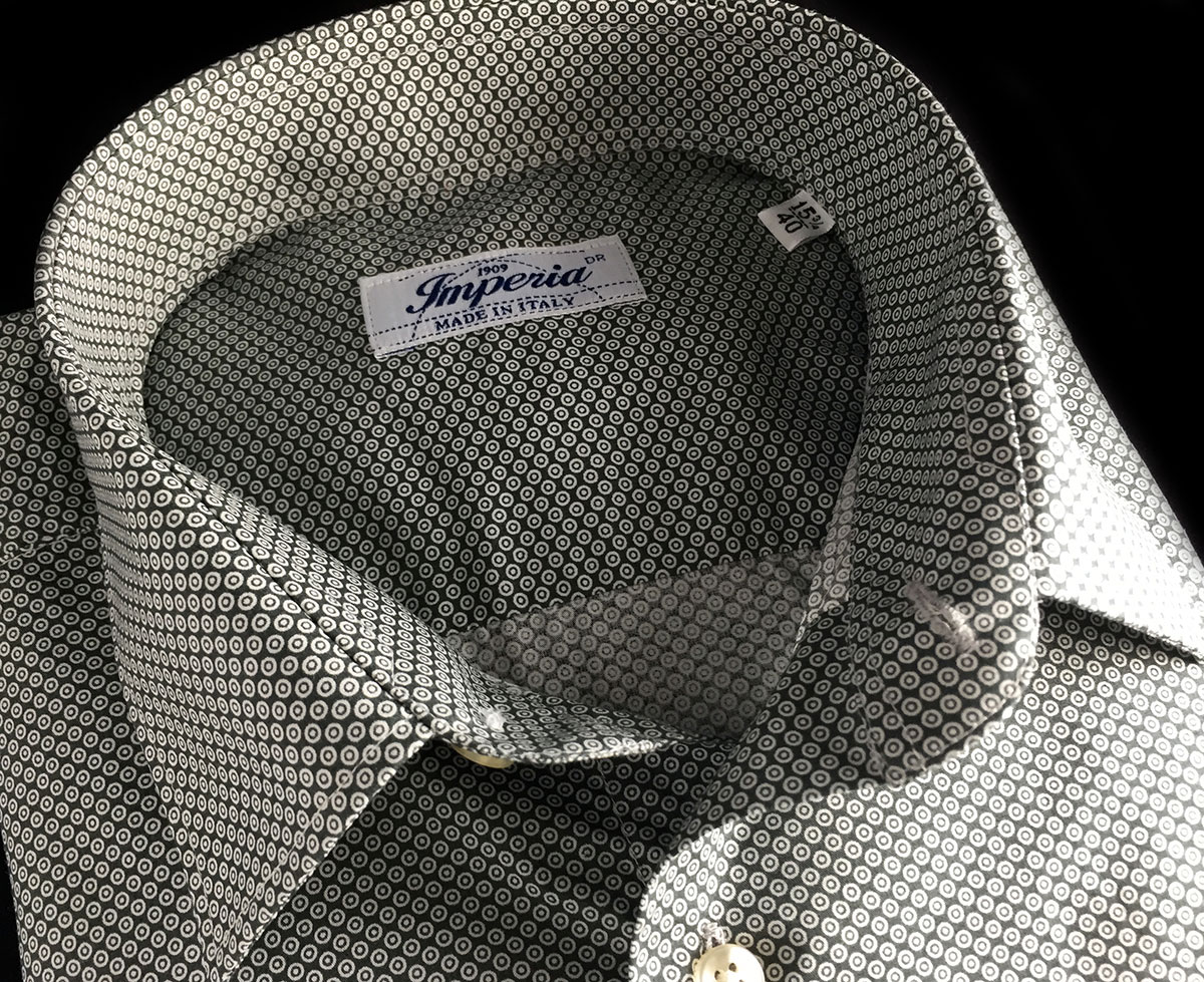 camicia da uomo di cotone con piccole fantasie