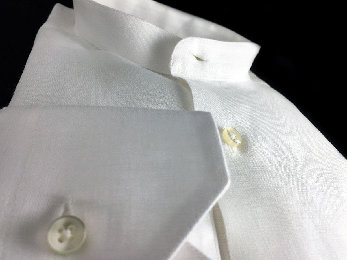 camicia bianca di lino da uomo collo coreana