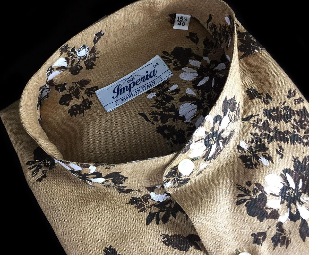 Camicia di lino uomo fantasia fiori collo coreana