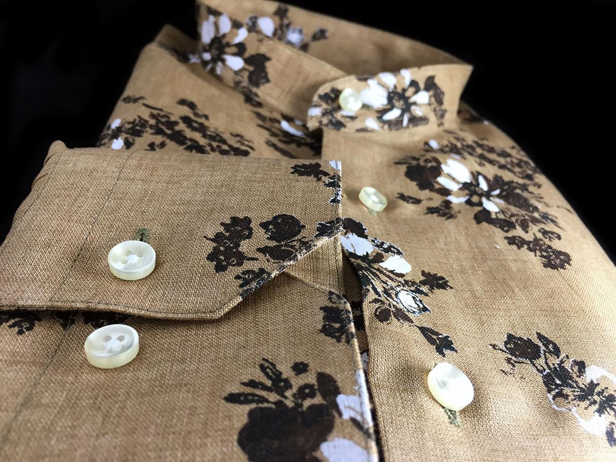 camicia di lino da uomo con fantasie floreali e collo coreana