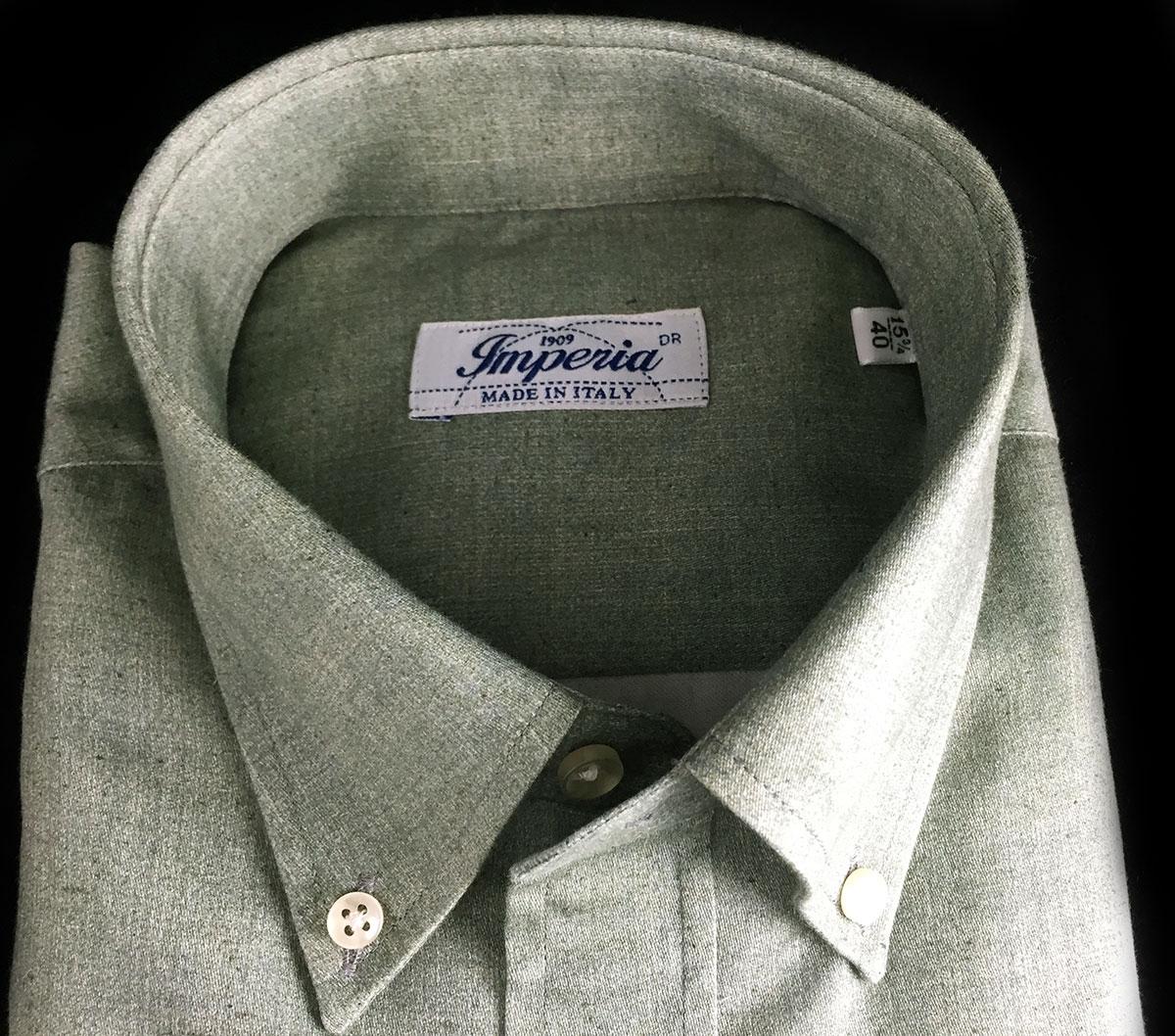 Camicia in caldo cotone colore verde Camiceria Smeralda Ancona Camerano