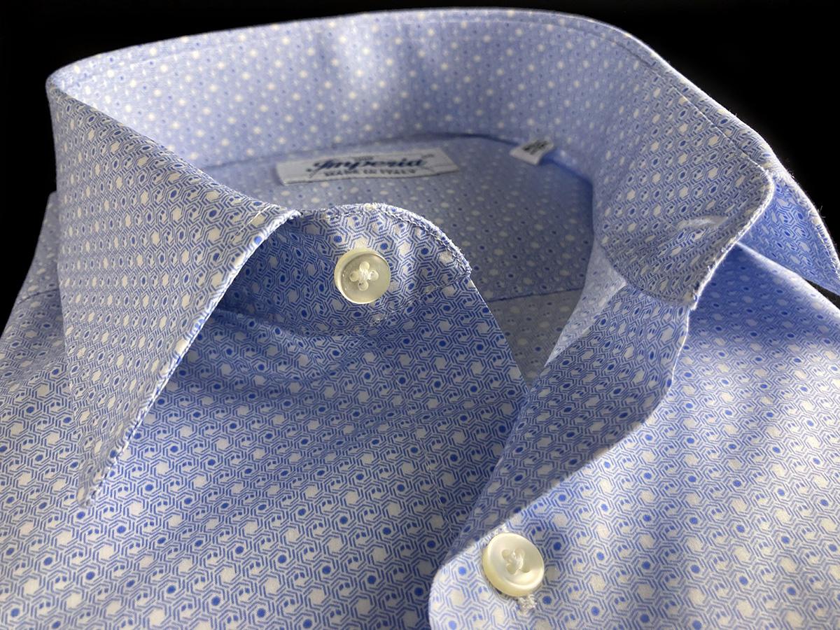 Camicia da uomo cotone azzurra fantasia a Camerano Ancona
