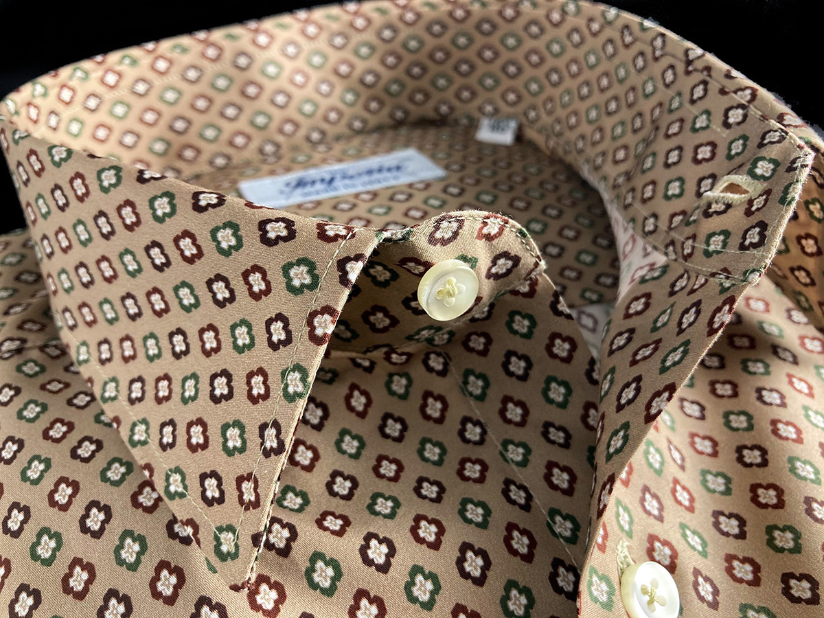 Camicia da uomo cotone marrone a fantasia floreale Ancona