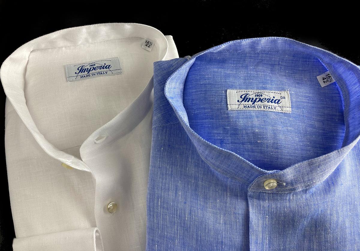 Camicie di lino azzurra e bianca Ancona