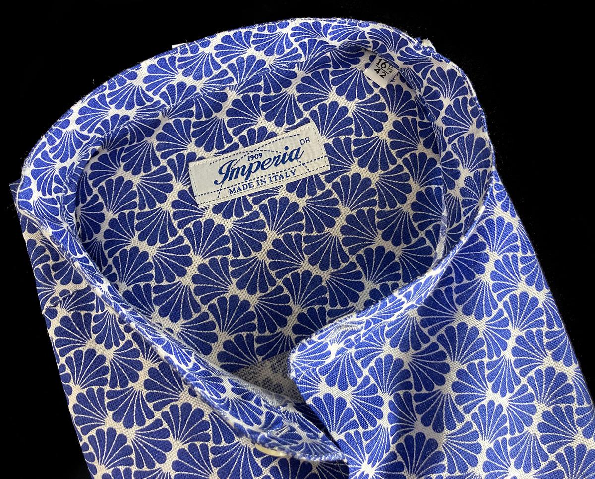 Camicia da uomo misto lino azzurra Ancona